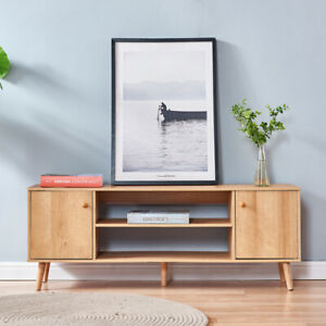 2 Tier TV Stand Console Table W/ Cabinet & Shelves Living Room Storage Furniture