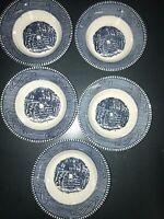 "5 Vintage Currier & Ives Dessert Bowls 6"" Children Playing Mint"