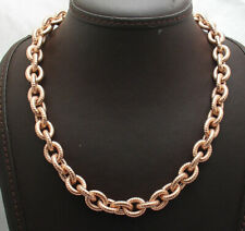 Technibond Textured Oval Chain Necklace Magnetic Lock 14K Rose Gold Clad Silver