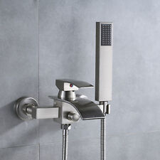 Brushed Nickel Wall Mount Tub Faucet Waterfall Single Handle Tap Hand Shower Set