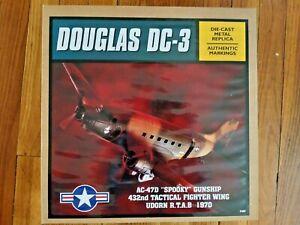 "RARE ERTL DOUGLAS DC-3 DIE-CAST METAL REPLICA AC-47D  ""SPOOKY"" GUNSHIP"