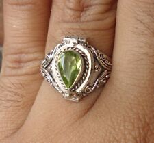 925 Sterling Silver Poison Box Ring Teardrop Peridot Size 8