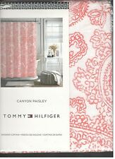 Tommy Hilfiger Canyon Paisley White Coral Pink Fabric Shower Curtain New