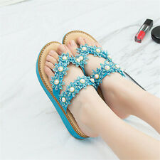 Women Summer Rhinestone Lace Floral Slipper Casual Beach Boho Flat Flip Flops