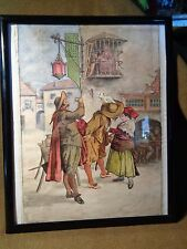 Antique SIGNED DATED WATERCOLOR PAINTING WHO '95 french? TAVERN street scene