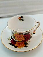 Queen Anne England  China Tea Cup and Saucer Yellow & Crimson Roses