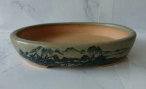 Japanese bonsai pot Oval flat bowl 14.5(5.7in)×12.5(4.9in)×2.8cm(1.1in) Shanshui