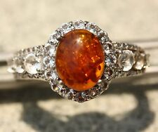 Baltic Amber White Topaz Ring  925 Sterling Silver Protected with Platinum New