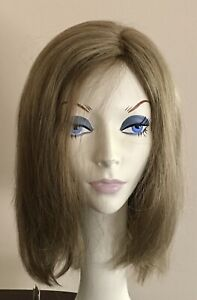 NWT! JACQUELYN Wig HUMAN HAIR Blend BRITTANY 16-10 Lightest BROWN Mix Monotop