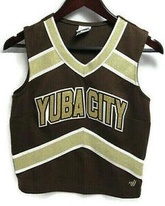 Varsity Spirit Yuba City Gold Brown Polyester V-Neck Cheerleading Top Size 38