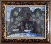 "rr Chudinovskikh Expressionist Öl Pappe ""Im Wald"" 24x18 cm eingerahmt"