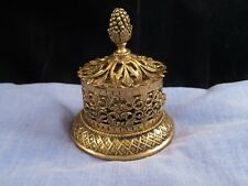 ANTIQUE VICTORIAN GILT DESKTOP RING DISPLAY STAND JEWELLERY DRESSING TABLE BOX