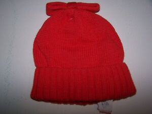 NWT BABY GAP ORANGISH RED BOW PULL-ON HOLIDAY WINTER HAT 0-6 MO Free Shipping