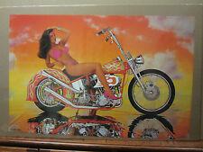 Hot Girl cool chopper custom Vintage Poster motorcycle man cave 1991 1657