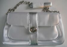 """avon small silver hand held&strap evening purse bag depth 5"""" bag hgt 6"""" B/L10in"""
