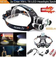 6000 Lumen 3x LED CREE XM-L T6 Headlamp Headlight Head Light Torch Flashlight UK