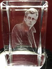 2D Laser Etched Crystal Glass Cube James Dean Giant Rebel Wout Cause Paperweight
