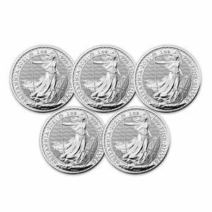 2021 Great Britain 1 oz Silver Britannia BU (Lot of 5 Coins)