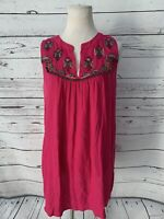 Maeve Anthropologie Tunic Tank Top Sz M Pink Embroidered Flowy Blouse V-Neck