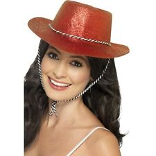 12 x Red Glitter Hat Cowboy Fancy Dress Women's Hen Night Western Party Cowgirl