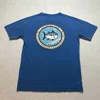 Southern Tide T-Shirt Size S Blue Double Sided Short Sleeve Fish Fishing Men's