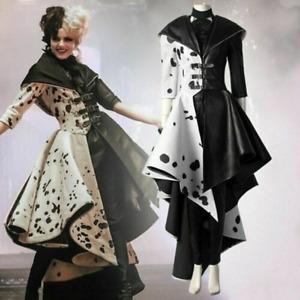Cruella De Vil Cosplay Costume Gown Black White Polka Dot Maid Dress Cruella