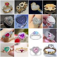 Fashion 925 Silver Love Heart Sapphire Ring Women Wedding Jewelry Rings Size6-10
