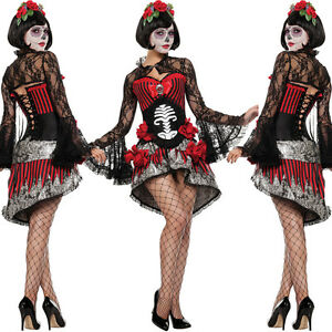 4 Piece Day Of The Dead Halloween Costume Size 10 Headband Bodice Skirt Bolero