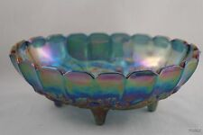 Large Vintage Blue Carnival Glass Iridescent Thick Heavy Glass Oval Fruit Bowl
