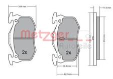 Bremsbelagsatz, Scheibenbremse für Bremsanlage Hinterachse METZGER 1170050