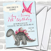 Girls Pink Watercolour Dinosaur Children's Birthday Party Invitations