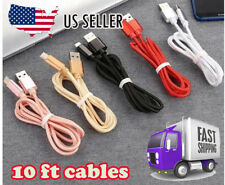 10' Android iPhone XBOX Micro USB Charger Sync Cable Braided Cord Samsung