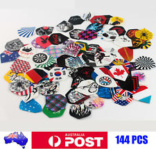 144pcs(48sets) Dart Flights Feather Fin Tail Accessory Randomly Patterns AU