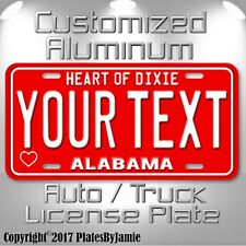 Heart of Dixie Alabama  YOUR TEXT Customized Aluminum Vanity License Plate Tag