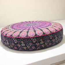 "New Indian 35X6"" Round Multi Mandala Floor Pillow Cushion Pouf Dog Pet Cover"