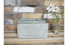 """FARMERS MARKET"" VINTAGE RUSTIC STYLE METAL BOTTLE STORAGE HOLDER WITH HANDLE"