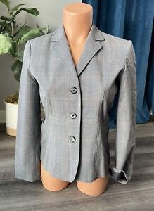 Rafaella Gray Plaid Blazer Size 4P 4 Petites Pink 3-Button Career Jacket
