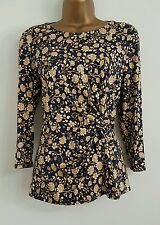 NEW M&S Size 14 22 Navy Gold Yellow Floral Trellis Print Twist Waist Top Blouse