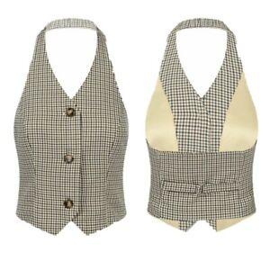 Women Prom Classic Formal Suit Vest Backless Party Button Tuxedo Suit Waistcoat
