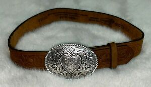 JUSTIN Childrens' Girls' Brown Leather Belt with Silver Heart Buckle Size 20