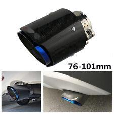"Inlet 3"" 76mm Outlet 4"" 101mm Carbon Fiber Car Exhaust Tips Muffler Half Blue"