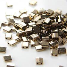 10 Grams Miyuki Tila Beads-Dark Bronze Opaque Metallic (TL457)