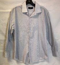 Jones New York Signature Button Up Long Sleeve Shirt Men's Large White Blue