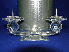 Swarovski Silver Crystal 7600 Nr 112 000 Two Candle Candle Holder Retired In Can