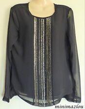 M&s per Una Black Floral Print Beaded Half Sleeve Tunic Size 14