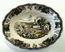 Johnson Bros Brothers Friendly Village Green Oval Vegetable Bowl Brown Label