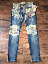 CURRENT / ELLIOTT the MOTO Drifter Patchwork Ankle Skinny Jeans Sz 25 $348 NWT!!