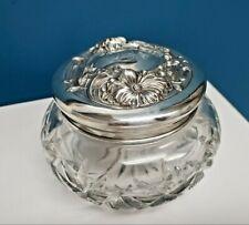 Antique Victorian Sterling Silver Repousse Floral Crystal Trinket Box Powder Jar
