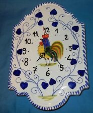 "Rooster Chicken Ceramic Wall Clock Cobalt Blue White 14 x 9 1/4"" NEEDS NEW WORKS"