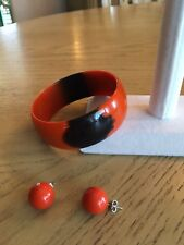 Rare Orange and Black Vintage Lucite Bangle Bracelet and  Pierced Earrings